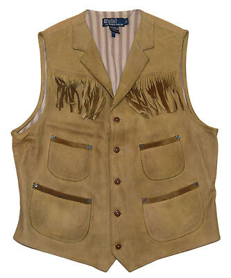 Polo Ralph Lauren Mens Vintage Distressed Leather Western Indian Vest Tan Medium