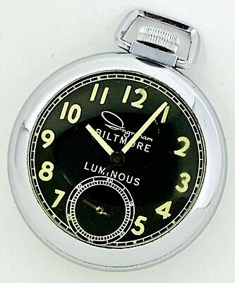 Vintage Ingraham Biltmore Luminous Mechanical Hand Wind Up Pocket Watch