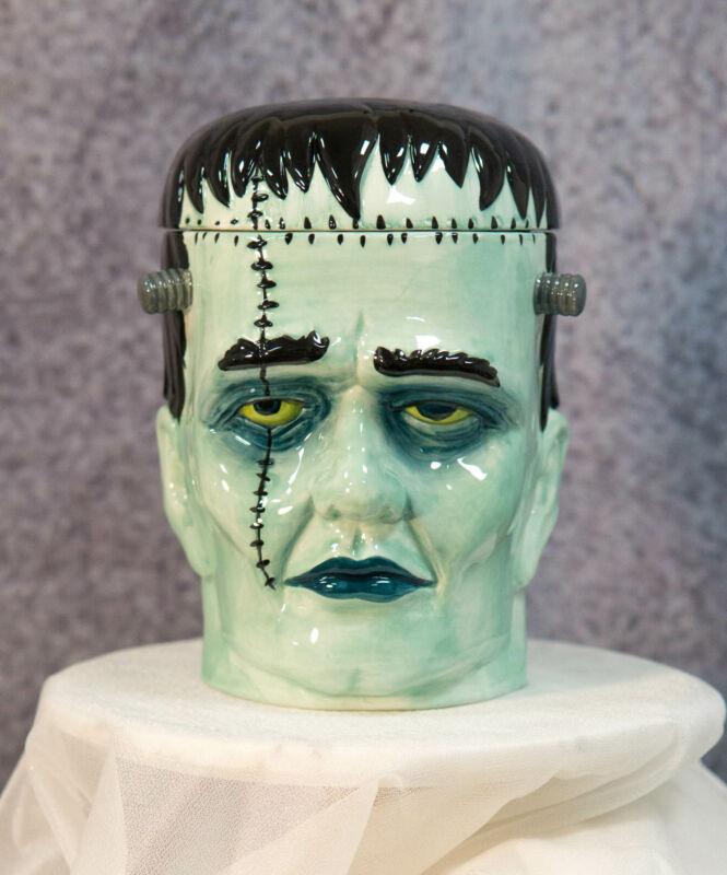 Ceramic Ghastly Victor Frankenstein Skull Cookie Jar Halloween Decor Kitchenware