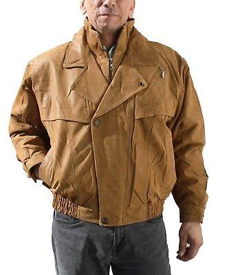 Mens Napa Leather (Men's Double Breast Genuine Napa Tan Color Leather Jacket  )