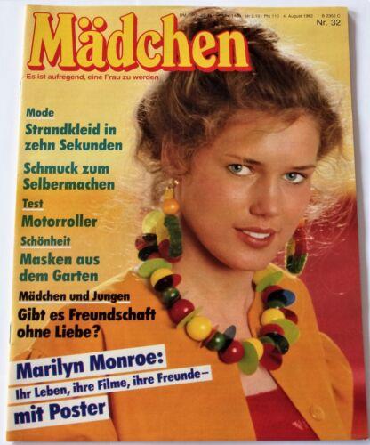 MÄDCHEN 32/04.08.1982 Marilyn Monroe,NDW Markus,Jodie Foster,Kai Havaii,Mode