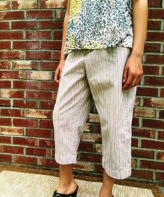 """Lee """"At The Waist"""" Beige Capri Sz 4P Striped Pants Women's Light Cotton"""