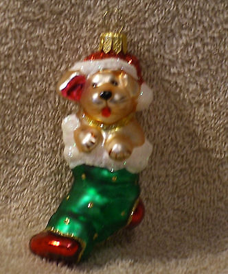 POLISH Glass YELLOW PUPPY IN GREEN CHRISTMAS STOCKING Ornament - NEW