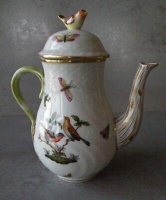- 1915-1930 HEREND HUNGARY ROTHSCHILD BIRD INDIVIDUAL COFFEE/TEA POT w/BIRD FINIAL