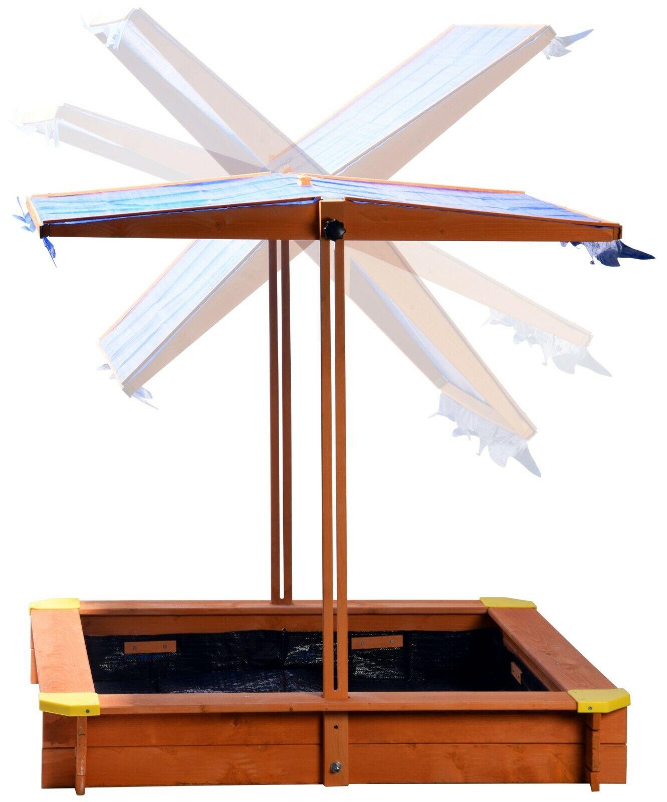 Sandkasten Holz Sandkiste Sandbox Spielhaus Verstellbares Dach Buddelkiste Blau