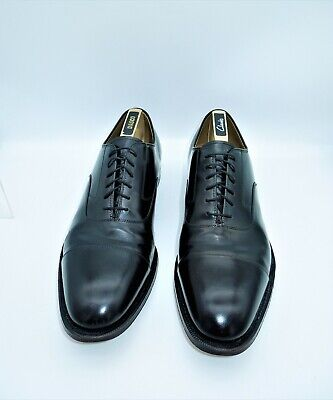 JOHNSTON & MURPHY Hand Crafted Mens Size 11.5 Leather Shoes Black Laced In E U C