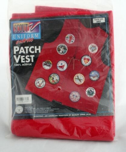 Red Scout Uniform Extras Patch Vest Youth Size Large