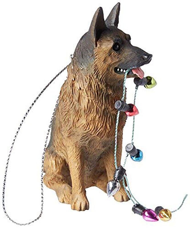 Sandicast German Shepherd Holding Lights Christmas Ornament