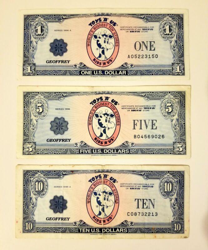 Toys R Us Geoffrey Money Gift Certificate Dollar 1996. 24 Years old!! Rare TRU