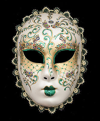 Mask Volto from Venice Green and Golden with Diamante Fancy Dress Carnival 884