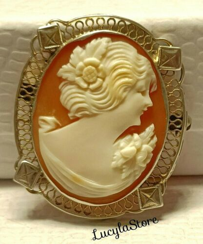 Vintage CAMEO Detailed Victorian Shell Filigree Sterling Silver925 Brooch Signed