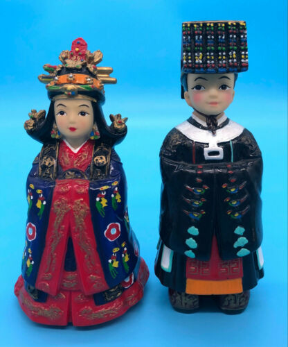 Korean Wedding Couple in Traditional Hanbok Dress Signed & Hand Painted