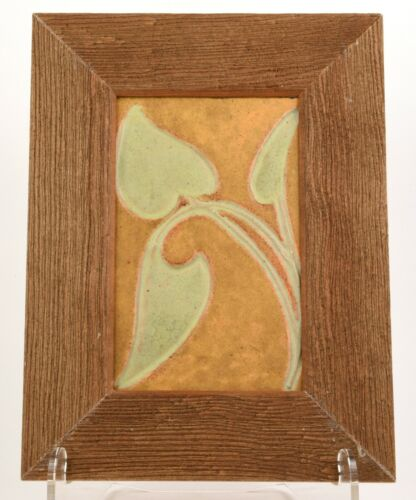 J. B.OWENS ZANESVILLE ARTS AND CRAFTS FRAMED TILE WITH DECORATIVE FLOWER