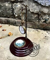 Vintage Classic Table Pendulum Clock Brass Magnetic Compass Antique Collectibles