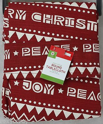 Christmas 60x84 Red & White with Joy & Peace Oblong Tableclo