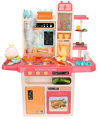 XXL Spielküche Kinderküche Zubehör Funktion Wasserhahn Kaltdampf 65 El. 9571