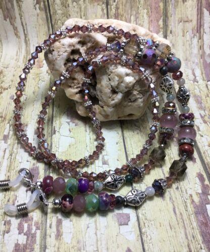 Handmade Swarovski Element Eyeglass Chain/Badge Holder W/Gemstones USA