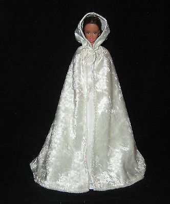 White Hooded Cape (Handmade Off White or Cream Hooded Knit Panne Barbie)