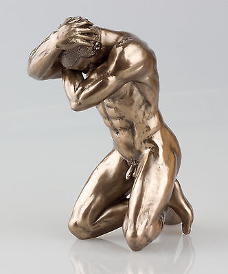 EROTIC MALE NUDE STATUE COLD CAST BRONZE NAKED MAN SCULPTURE ORNAMENT BN (75113)