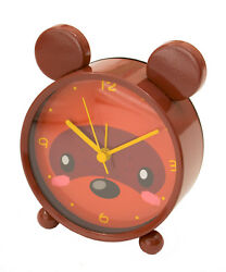 Small Brown Bear Table Clock with Alarm 4x4.5x2 inches with Ears