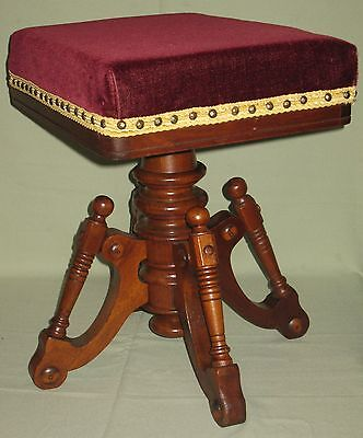 Archer Stools (ANTIQUE PIANO ORGAN STOOL SOLID WALNUT SWIVEL SEAT MOHAIR UPHOLSTERY ARCHER 1873 )