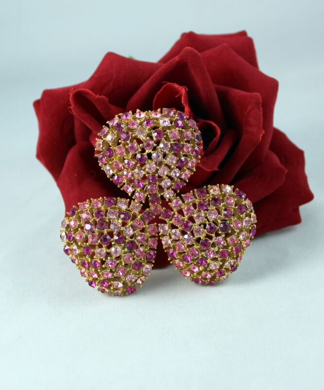 """Vintae 2.5"""" Sparkling Pink Rhinestone  Gold tone   Pin Brooch CAT RESCUE"""