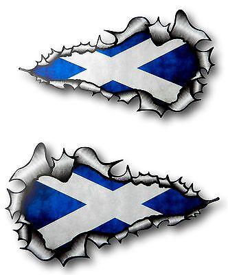 XXL Largo Pareja Rasgado Metal Saltire Escocés Bandera de Escocia Adhesivo Coche