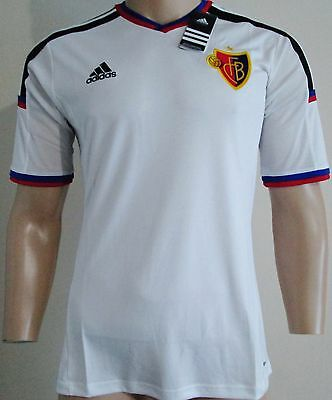 Men FC Basel player issue short sleeves away football shirt size L Adidas BNWT
