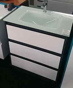 750 Espresso/White Vanity Cabinet + Mambo Ice Glass Top Paradise Campbelltown Area Preview