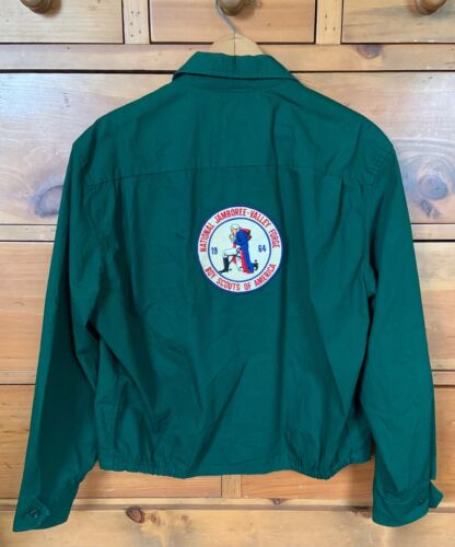 Vintage 1964 NATIONAL JAMBOREE Official Boy Scout JACKET Green Hipster Trendy