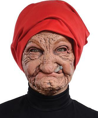 OLD NANA WOMAN GRANNY LATEX WRINKLED FACE HEAD SCARF MASK COSTUME MR131136 - Old Woman Costume