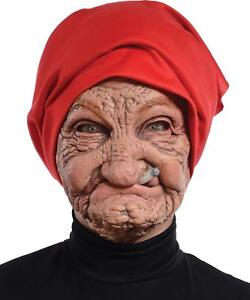 OLD NANA WOMAN GRANNY LATEX WRINKLED FACE HEAD SCARF MASK COSTUME MR131136