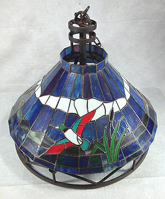Vintage Stained Glass Ceiling Chandelier Duck Decor Metal Frame Milk Glass Globe](Chandelier Frame)