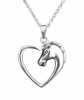 Solid Stainless Steel Horse Necklace Pendant Charm Horses Heart Equestrian  (Horse Charm Necklace)