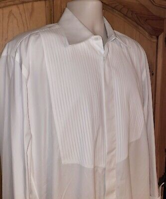 BORRELLI Napoli White Cotton Bib Front French Cuff Tuxedo Shirt Italy Made 16/41