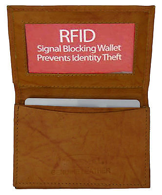 Tan RFID Blocking Safe Leather Expandable Credit Card ID Business Case Wallet