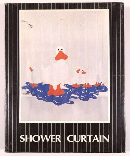 MERVYNS 1980s VINTAGE SHOWER CURTAIN WHITE DUCKS RETRO POP ART VINYL NEW NIB