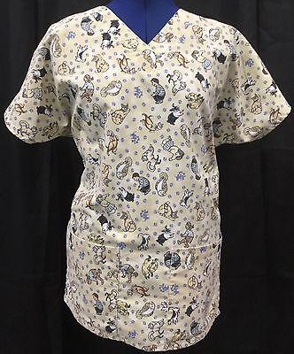 Tan XS Scrub Top Dog Cat Uniform Medical Shirt Bunny Bird Fish Vet Unisex VTG