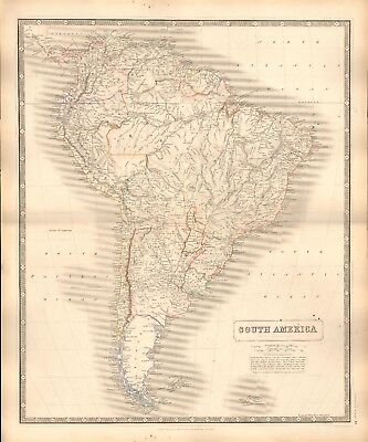 1844 LARGE ANTIQUE MAP- JOHNSTON - SOUTH AMERICA WITH THE LATE DIVISIONS OF THE
