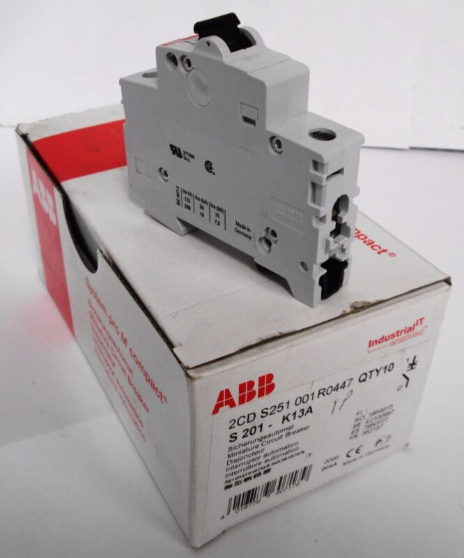 (10) ABB 2CDS251001R0447 S 201-K13A Miniature Circuit Breakers 1P 13A
