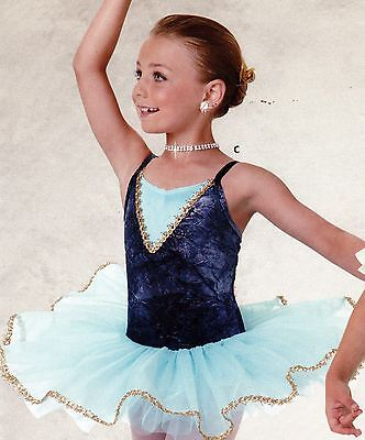 NWT Ballet costume gold Sky blue attached tutu graduated 4 layer Child sizes - Blue Tutu Costumes