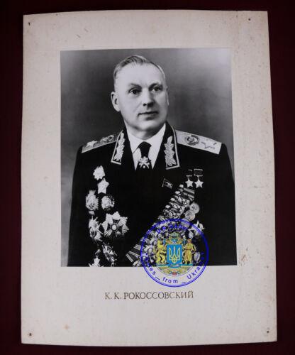 Soviet Poland marshal Rokossovsky w order medal USSR Russian PORTRAIT photo BIG