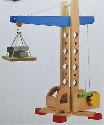 Holzkran Kran Spiel-Set Holzspielzeug Baustelle zum beladen der Holzeisenbahn