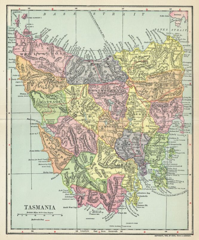 1903 Dodd, Mead and Co. Map of Tasmania, Australia