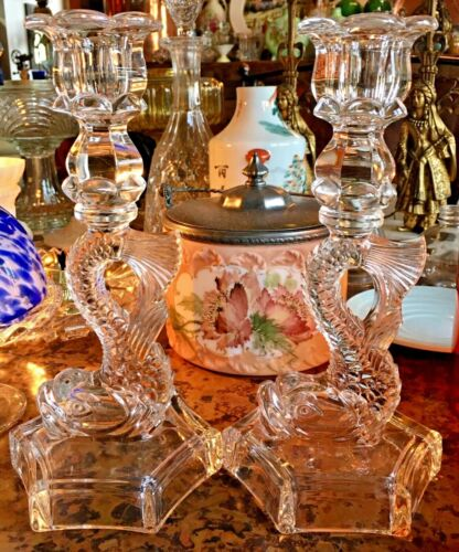 Vintage Westmoreland Clear Glass Dolphin / Koi Fish Candle Holders Candlesticks