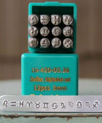 SupplyGuy 3mm 12 Zodiac Sign Metal Design Stamp Punch Set SGCH-Zodiac3mm