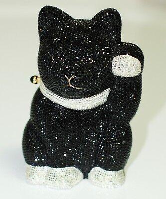 JUDITH LEIBER LUCKY WAVING BLACK CAT SWAROVSKI CRYSTAL Beckoning Meneki-Neko bag