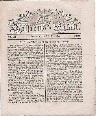 Missions-Blatt 1832 Nr. 23 Barmen Historische Zeitung Druck