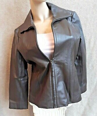 East 5th Womens Genuine Leather Jacket Tailored Fit Dark Brown Zip S P REDUCED