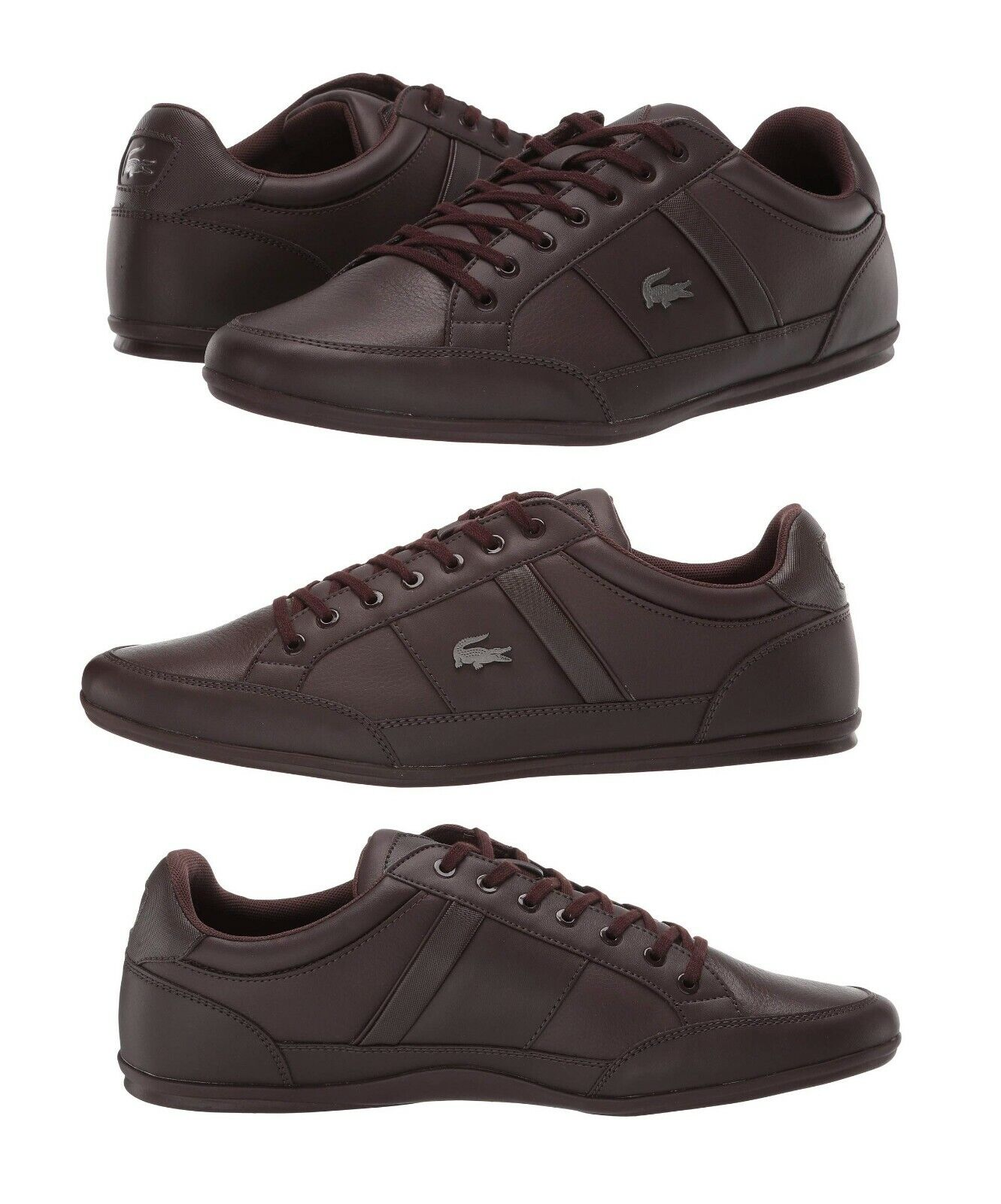 Lacoste Chaymon BL Men's Casual Croc Logo Shoes Sneakers Black Brown Navy White 1
